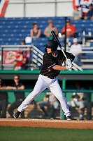 Batavia Muckdogs Troy Johnston (27) at bat during a NY-Penn League game against the West Virginia Black Bears on June 26, 2019 at Dwyer Stadium in Batavia, New York.  Batavia defeated West Virginia 4-2.  (Mike Janes/Four Seam Images)