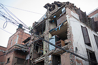 A destroyed residential building in Pathan, Kathmandu, Nepal.