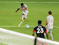 WASHINGTON, DC - SEPTEMBER 12: Kyle Duncan #6 of the New York Red Bulls takes a shot during a game between New York Red Bulls and D.C. United at Audi Field on September 12, 2020 in Washington, DC.