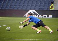 Kansas City, Kansas - Saturday April 16, 2016: FC Kansas City goalkeeper Nicole Barnhart (18) warms up before the game against Western New York Flash at Children's Mercy Park. Western New York won 1-0.