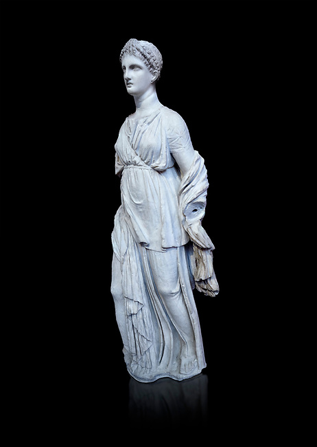 Statue of Artemis, found at the 'House of Diadoumenos' on Delos. Pariam marble, Circa 100 BC. Athens Archaeological Museum, Cat No 1829. against black<br /> Artemis wears a chiton, a girt and himation. The diagonal strap ocross her breast will have held the quiver full of arrows. The Goddess's beauty is stressed by her elaborate coiffure.