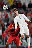 Antoine Griezmann of France and Jason Denayer of Belgium during the Uefa Nations League semi-final football match between Belgium and France at Juventus stadium in Torino (Italy), October 7th, 2021. Photo Andrea Staccioli / Insidefoto