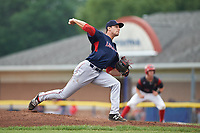 Lowell Spinners starting pitcher Nick Duron (43) delivers a pitch during a game against the Batavia Muckdogs on July 12, 2017 at Dwyer Stadium in Batavia, New York.  Batavia defeated Lowell 7-2.  (Mike Janes/Four Seam Images)