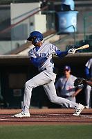 Kevin Richards (46) of the Stockton Ports bats against the Inland Empire 66ers at San Manuel Stadium on June 27 2021 in San Bernardino, California. (Larry Goren/Four Seam Images)