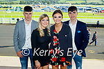 Enjoying the afternoon at the Listowel races on Monday, l to r: Keith Sheehy, Anna Quaid, Kelly O'Halloran and Jim Lenihan (All Newcastlewest).