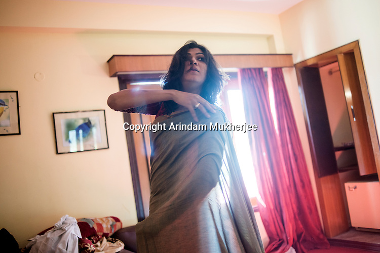 Dipmalya (Diya) wears a sari at a hotel in Digha, West Bengal,  India. Arindam Mukherjee