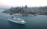 October 29, 2005; San Francisco, CA, USA; Aerial view of a cruise ship leaving the port of San Francisco at sunset in San Francisco Bay. Photo by: Phillip Carter
