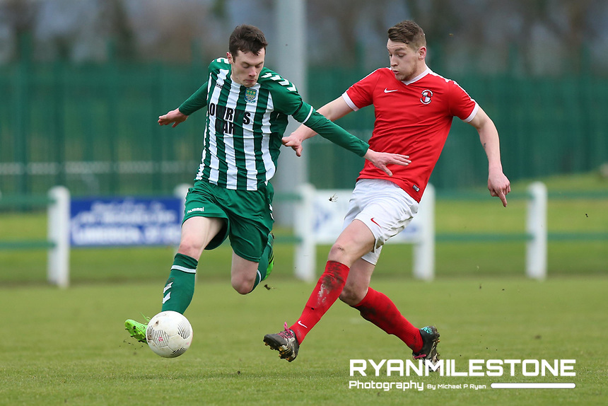 """St Michael's Oliver O"""" Driscoll in action against Jason Whelan of Tolka Rovers during the New Balance FAI Junior Cup 7th Round at Cooke Park ,Tipperary Town on Sunday 4th February 2018, Photo By Michael P Ryan"""
