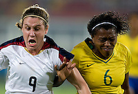 Maycon, Heather O'Reilly. The USWNT defeated Brazil, 1-0, to win the gold medal during the 2008 Beijing Olympics at Workers' Stadium in Beijing, China.