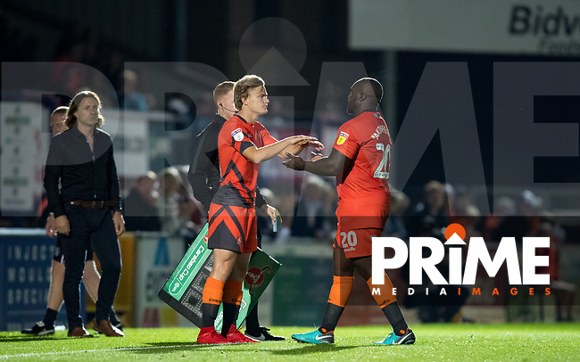 Alex Samuel replaces Adebayo Akinfenwa of Wycombe Wanderers for his debut during the Carabao Cup 2nd round match between Wycombe Wanderers and Forest Green Rovers at Adams Park, High Wycombe, England on 28 August 2018. Photo by Andy Rowland.