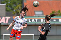 Summer Rogiers (8) of Zulte Waregem and Marie Bougard (10) of Woluwe  pictured during a female soccer game between SV Zulte - Waregem and White Star Woluwe on the 10 th and last matchday in play off 2 of the 2020 - 2021 season of Belgian Scooore Womens Super League , saturday 29 of May 2021  in Zulte , Belgium . PHOTO SPORTPIX.BE | SPP | DIRK VUYLSTEKE