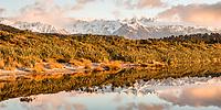 Twilight reflections of Southern Alps in coastal lagoon near Okarito, Westland Tai Poutini National Park, West Coast, UNESCO Wolrd Heritage Area, New Zealand, NZ
