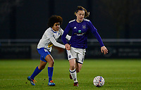 20180126 - OOSTAKKER , BELGIUM : Anderlecht's Tine De Caigny (r) pictured in a duel with Gent's Kassandra Ndoutou eboa Missipo (left) during the quarter final of Belgian cup 2018 , a womensoccer game between KAA Gent Ladies and RSC Anderlecht , at the PGB stadion in Oostakker , friday 27 th January 2018 . PHOTO SPORTPIX.BE   DAVID CATRY