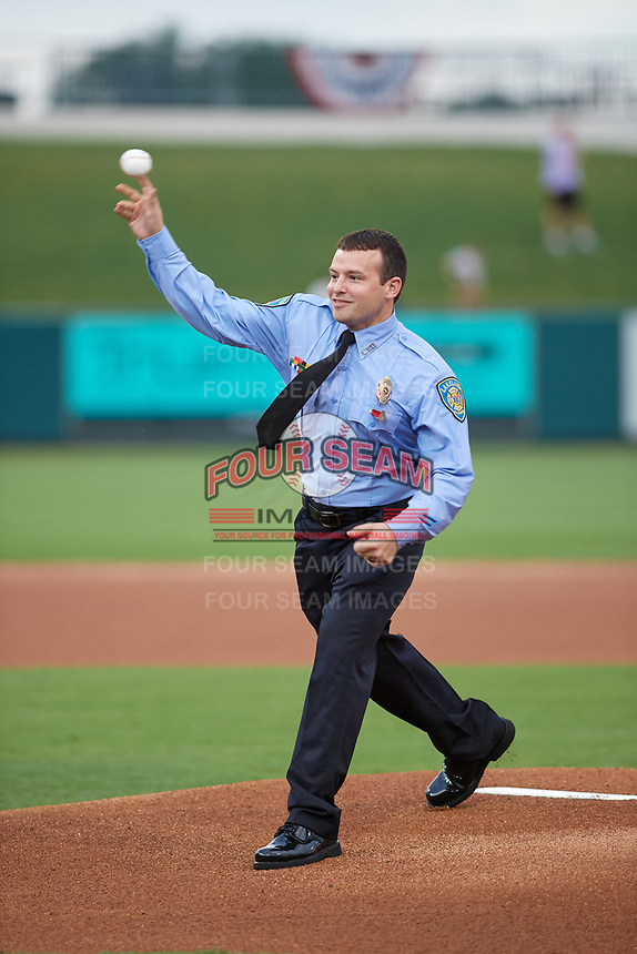 Damian Motsinger throws out a ceremonial first pitch before the Florida State League All-Star Game on June 17, 2017 at Joker Marchant Stadium in Lakeland, Florida.  FSL North All-Stars defeated the FSL South All-Stars  5-2.  (Mike Janes/Four Seam Images)