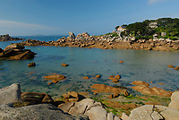Coastal shore with granitic rocks, this area is often named coast of rose granit, Ploumanach, North of Brittany, North of France, Atlantic Ocean, Europe,
