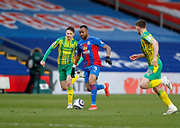 10/13th March 2021; Selhurst Park, London, England; English Premier League Football, Crystal Palace versus West Bromwich Albion; Jordan Ayew of Crystal Palace is closely marked by Conor Townsend and Dara O'Shea of West Bromwich Albion