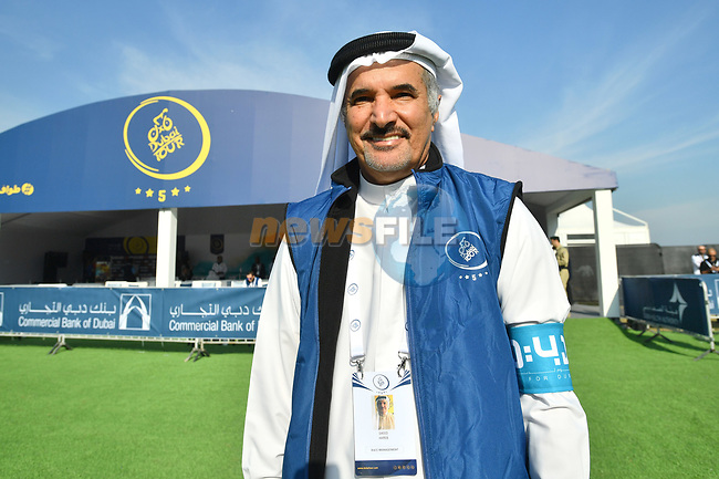 H.E. Saeed Hareb at sign on before the start of Stage 2 The  Ras Al Khaimah Stage of the Dubai Tour 2018 the Dubai Tour's 5th edition, running 190km from Skydive Dubai to Ras Al Khaimah, Dubai, United Arab Emirates. 7th February 2018.<br /> Picture: LaPresse/Massimo Paolone   Cyclefile<br /> <br /> <br /> All photos usage must carry mandatory copyright credit (© Cyclefile   LaPresse/Massimo Paolone)