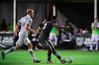 LAKE BUENA VISTA, FL - AUGUST 06: Mason Toye #23 of Minnesota United FC kicks the ball during a game between Orlando City SC and Minnesota United FC at ESPN Wide World of Sports on August 06, 2020 in Lake Buena Vista, Florida.