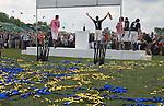 Mint Polo in the Park. Hurlingham Park Fulham London Uk June 6th 2010. Jack Kidd  for City AM Team New York team celebrating.