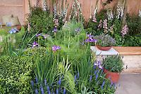 Herbs, flowers, backyard bench, patio, lush and beautiful