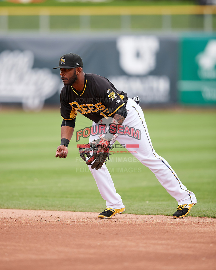 Rey Navarro (13) of the Salt Lake Bees on defense against the El Paso Chihuahuas in Pacific Coast League action at Smith's Ballpark on April 30, 2017 in Salt Lake City, Utah. El Paso defeated Salt Lake 12-3. This was Game 2 of a double-header originally scheduled on April 28, 2017. (Stephen Smith/Four Seam Images)