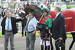 Valirann (no. 1), ridden by Christophe Soumillon and trained by Alain de Royer Dupre, wins the group 2 Prix Chaudenay for three year olds on October 5, 2013 at Longchamp Racecourse in Paris, France.  (Bob Mayberger/Eclipse Sportswire)