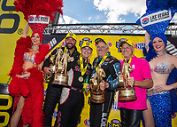 Oct 30, 2016; Las Vegas, NV, USA; NHRA top fuel driver Steve Torrence (left) celebrates with funny car driver John Force , pro stock driver Shane Gray and pro stock motorcycle rider Jerry Savoie after winning the Toyota Nationals at The Strip at Las Vegas Motor Speedway. Mandatory Credit: Mark J. Rebilas-USA TODAY Sports