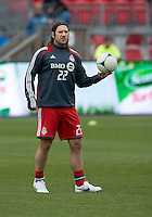 14 April 2012: Toronto FC midfielder Torsten Frings #22 in action during the warm-up n a game between Chivas USA and Toronto FC at BMO Field in Toronto..Chivas USA won 1-0.