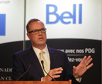 George Cope, President and CEO of BCE and Bell Canada, deliver a speech to the Canadian Club of Montreal on May 26, 2014.<br /><br />Photo : Agence Quebec Presse  - Pierre Roussel