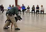 Carson City Sheriff's Deputy Joe Apple and his K-9 partner Hero demonstrate patrol skills for a group of GATE students from Carson Middle and Eagle Valley Middle schools, on Wednesday, March 5, 2014 at Fuji Park.<br /> Photo by Cathleen Allison/Nevada Photo Source