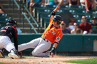 Norfolk Tides designated hitter Dariel Alvarez (12) slides into home as catcher John Ryan Murphy (12) tags him out during a game against the Rochester Red Wings on July 17, 2016 at Frontier Field in Rochester, New York.  Rochester defeated Norfolk 3-2.  (Mike Janes/Four Seam Images)