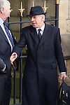 © Joel Goodman - 07973 332324 . 16/01/2014 . Salford , UK . Jack Straw , MP for Blackburn , arrives at the funeral .  The funeral of Labour MP Paul Goggins at Salford Cathedral today (Thursday 16th January 2014) . The MP for Wythenshawe and Sale East died aged 60 on 7th January 2014 after collapsing whilst out running on 30th December 2013 . Photo credit : Joel Goodman