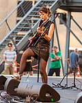 Raleigh, North Carolina- August 11, 2017<br /> <br /> Mary Timony of Ex Hex. <br /> <br /> Ex Hex and Waxahatchee played an outdoor concert with MERGE Records label mates Superchunk at the North Carolina Museum of Art. (Photo by Jeremy M. Lange for The New York Times)