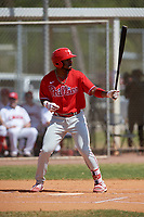 Philadelphia Phillies Kendall Simmons (21) bats during an exhibition game against the Canada Junior National Team on March 11, 2020 at Baseball City in St. Petersburg, Florida.  (Mike Janes/Four Seam Images)