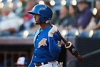Wander Franco (5) of the Durham Bulls waits for his turn to hit during the game against the Jacksonville Jumbo Shrimp at Durham Bulls Athletic Park on May 15, 2021 in Durham, North Carolina. (Brian Westerholt/Four Seam Images)