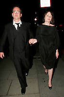 MATTHEW MacFADYEN & KEELEY HAWES.Leaving the Royal Television Society Awards at the Grosvenor House Hotel, Park Lane, London, England..March 17th, 2009.rts full length black dress suit holding hands glasses  .CAP/AH.©Adam Houghton/Capital Pictures.