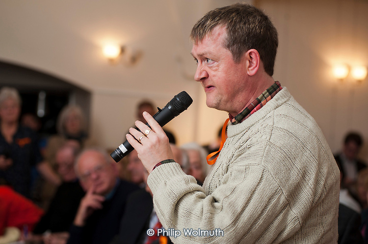A resident asks a question about services for people with learning difficulties. Barnet Alliance for Public Services meeting called to to express resident opposition to the council's controversial One Barnet mass privatisation plan.