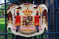 Hawaiian Coat of Arms on the gate to Iolani Palace, Honolulu
