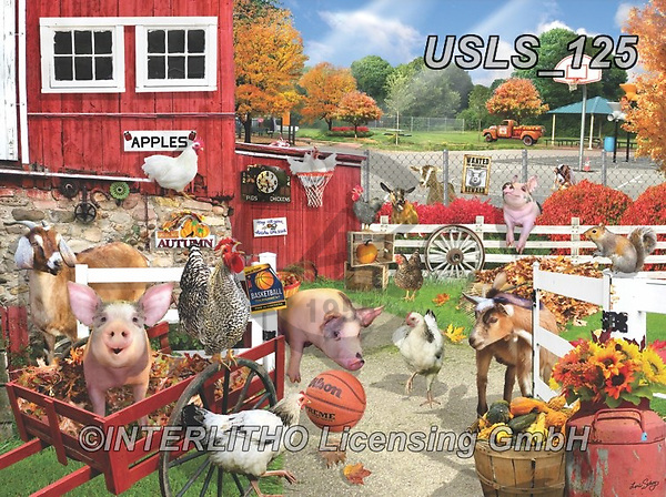Lori, REALISTIC ANIMALS, REALISTISCHE TIERE, ANIMALES REALISTICOS, zeich, paintings+++++Barnyard Basketball Game_5_12in_72,USLS125,#a#, EVERYDAY ,puzzle,puzzles