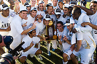 Akron Zips with Championship trophy. 2010 NCAA D1 College Cup Championship Final Akron defeated Louisville 1-0 at Harder Stadium on the campus of UCSB in Santa Barbara, California on Sunday December 12, 2010.