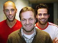15-02-2005,Rotterdam, ABNAMROWTT , Tjerk Bogtstra geflankeerd door Peter Wessels en Raemon Sluiter, het nieuwe Daviscup dubbel