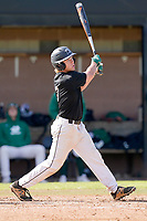 Connor Jurek (3) of the University of South Carolina Upstate Spartans bats in the Green and Black Fall World Series Game 2 on Saturday, October 31, 2020, at Cleveland S. Harley Park in Spartanburg, South Carolina. Green won, 6-5. (Tom Priddy/Four Seam Images)