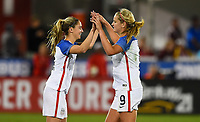 Commerce City, CO - Friday September 15, 2017: Morgan Brian, Lindsey Horan during an International friendly match between the women's National teams of the United States (USA) and New Zealand (NZL) at Dick's Sporting Goods Park.