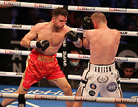 9th October 2021; M&S Bank Arena, Liverpool, England; Matchroom Boxing, Liam Smith versus Anthony Fowler; LIAM SMITH (Liverpool, England)backed up by ANTHONY FOWLER (Liverpool, England) during their WBA International Super-Welterweight Title contest
