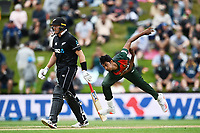 20th March 2021; Dunedin, New Zealand;  Hasan Mahmud bowls during the New Zealand Black Caps v Bangladesh International one day cricket match. University Oval, Dunedin.