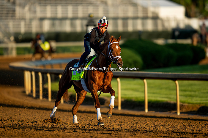 April 27, 2021: Dynamic One gallops in preparation for the Kentucky Derby at Churchill Downs in Louisville, Kentucky on April 27, 2021. EversEclipse Sportswire/CSM