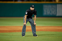 Umpire Emil Jimenez during a Southern League game between the Biloxi Shuckers and Pensacola Blue Wahoos on May 3, 2019 at Admiral Fetterman Field in Pensacola, Florida.  Pensacola defeated Biloxi 10-8.  (Mike Janes/Four Seam Images)