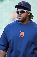 Detroit Tigers first baseman Prince Fielder (28) warms up prior to the MLB baseball game against the Houston Astros on May 3, 2013 at Minute Maid Park in Houston, Texas. Detroit defeated Houston 4-3. (Andrew Woolley/Four Seam Images).