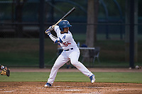 AZL Dodgers catcher Juan Zabala (54) at bat during an Arizona League game against the AZL White Sox at Camelback Ranch on July 3, 2018 in Glendale, Arizona. The AZL Dodgers defeated the AZL White Sox by a score of 10-5. (Zachary Lucy/Four Seam Images)