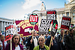 © Joel Goodman - 07973 332324 . 02/10/2016 . Birmingham , UK . Thousands march along New Street in a TUC march and demonstration from Victoria Square in front of Birmingham Town Hall through Birmingham City Centre , against the Conservative Party during the first day of the Conservative Party Conference at the International Convention Centre in Birmingham . Photo credit : Joel Goodman